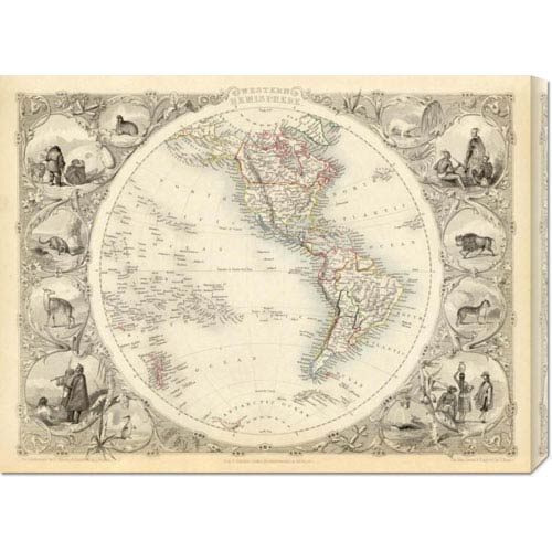 Global Gallery Western Hemisphere, 1851 by R.M. Martin: 30 x 22.44 Canvas Giclees, Wall Art