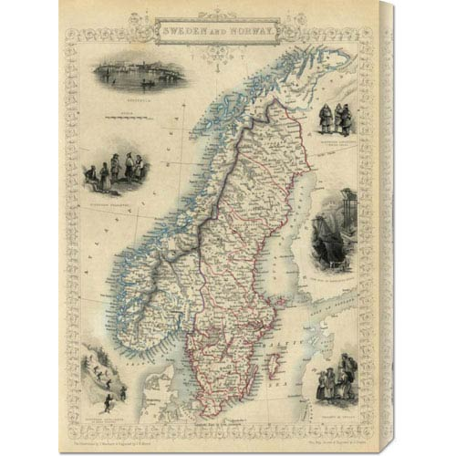 Global Gallery Sweden and Norway, 1851 by R.M. Martin: 21.3 x 30 Canvas Giclees, Wall Art