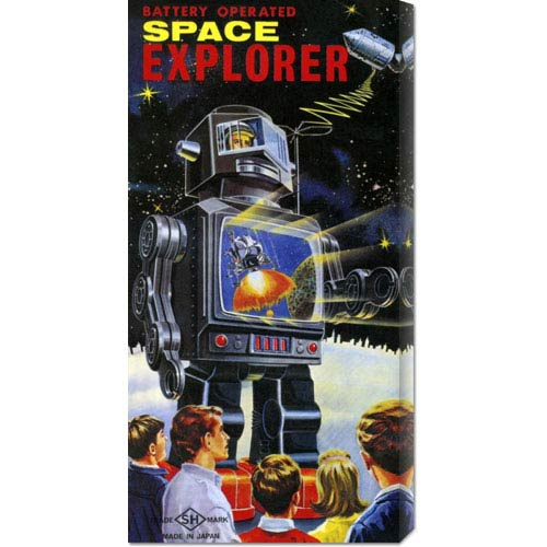 Global Gallery Battery Operated Space Explorer: 24 x 12 Canvas Giclees, Wall Art