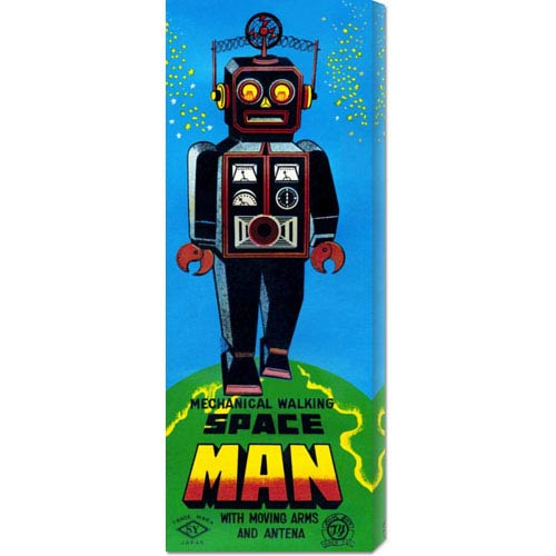 Global Gallery Mechanical Walking Space Man, 20 x 8 Canvas Giclees, Wall Art