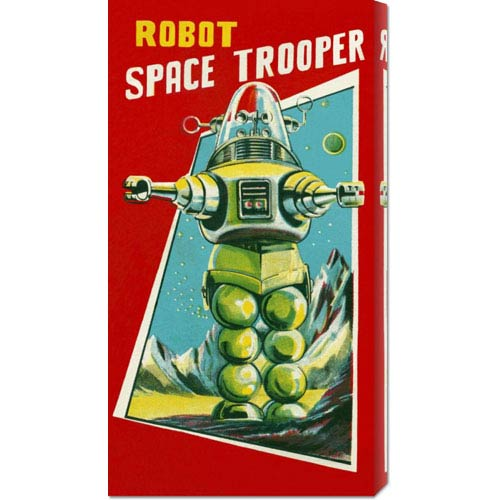 Global Gallery Robot Space Trooper: 24 x 12 Canvas Giclees, Wall Art
