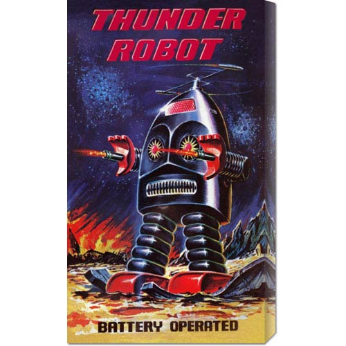 Global Gallery Thunder Robot: 24 x 16 Canvas Giclees, Wall Art