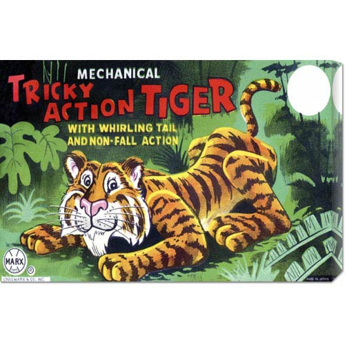 Global Gallery Tricky Action Tiger: 16 x 24 Canvas Giclees, Wall Art