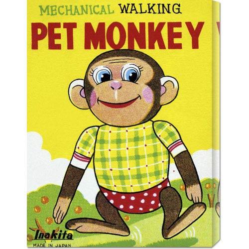 Global Gallery Mechanical Walking Pet Monkey: 24 x 18 Canvas Giclees, Wall Art