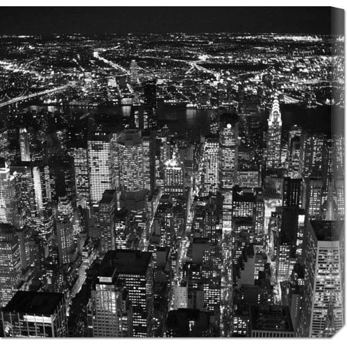 Global Gallery Night Aerial View of Midtown Manhattan by Cameron Davidson: 24 x 24 Canvas Giclees, Wall Art