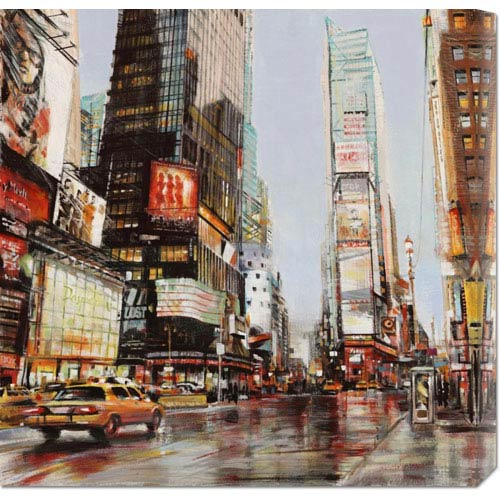 Global Gallery Taxi in Times Square by John B. Mannarini: 24 x 24 Canvas Giclees, Wall Art