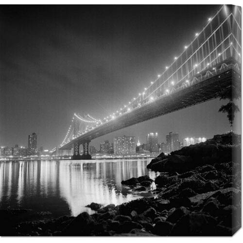 Global Gallery Manhattan Bridge by Night by Philippe Levy-Stab: 24 x 24 Canvas Giclees, Wall Art