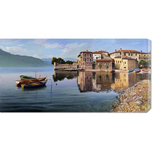 Global Gallery Paese Sul Lago by Adriano Galasso: 36 x 18 Canvas Giclees, Wall Art
