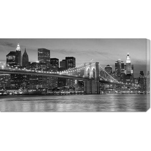 Global Gallery Brooklyn Bridge at Night: 36 x 18 Canvas Giclees, Wall Art