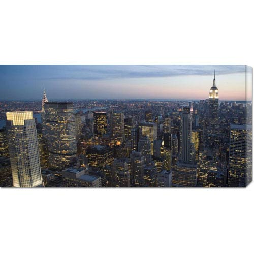 Global Gallery Manhattan at Dusk: 36 x 18 Canvas Giclees, Wall Art