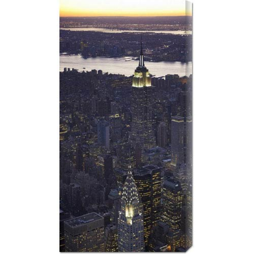 Global Gallery Aerial View of Midtown Manhattan by Cameron Davidson: 18 x 36 Canvas Giclees, Wall Art