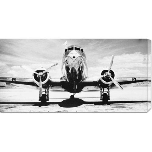 Global Gallery Passenger Airplane on Runway by Philip Gendreau: 36 x 18 Canvas Giclees, Wall Art