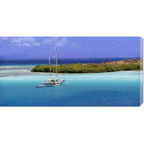 Global Gallery Sailboat at Anchor, Island of Culebra, Puerto Rico by George H.H. Huey: 36 x 18 Canvas Giclees, Wall Art