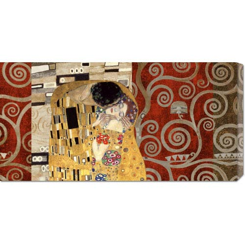 Global Gallery The Kiss Pewter by Klimt Patterns: 36 x 18 Canvas Giclees, Wall Art