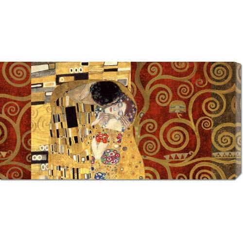Global Gallery The Kiss Gold by Klimt Patterns: 36 x 18 Canvas Giclees, Wall Art