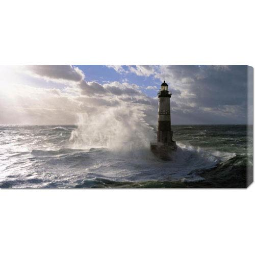 Global Gallery Phare dAr-Men Pres de lile de Sein by Jean Guichard: 36 x 18 Canvas Giclees, Wall Art