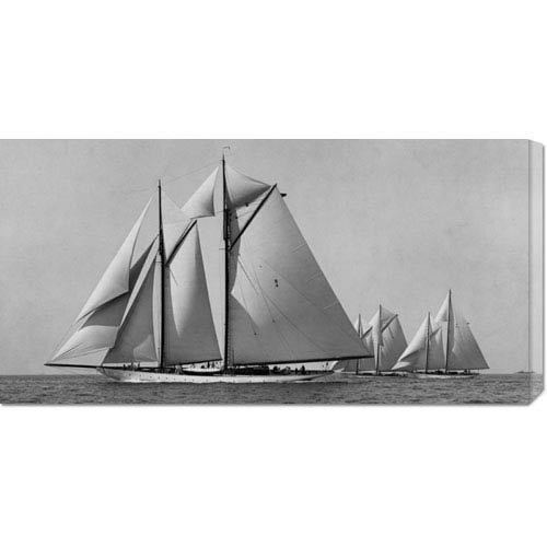 Global Gallery Schooner Race by Edwin Levick: 36 x 18 Canvas Giclees, Wall Art