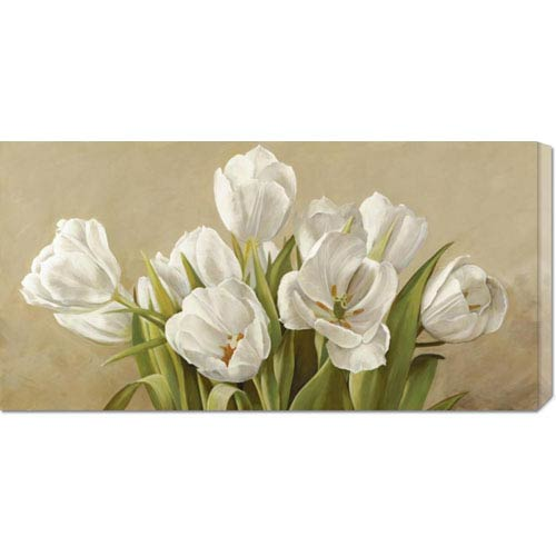 Global Gallery Tulipani Bianchi by Serena Biffi: 36 x 18 Canvas Giclees, Wall Art