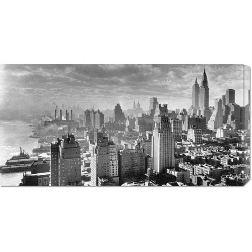 Global Gallery East River Waterfront and Manhattan, 1931 by Samuel Gottscho: 36 x 18 Canvas Giclees, Wall Art