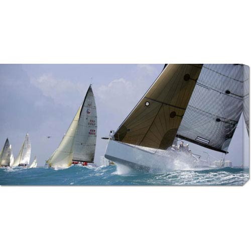 Global Gallery Boats Racing by Sharon Green: 36 x 18 Canvas Giclees, Wall Art