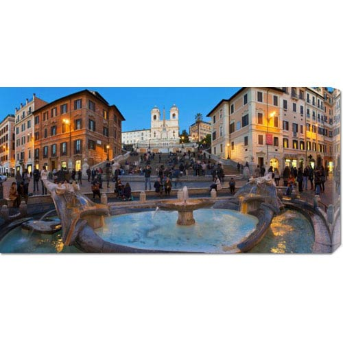 Global Gallery Piazza di Spagna at Night, Rome by Sylvain Sonnet: 36 x 18 Canvas Giclees, Wall Art