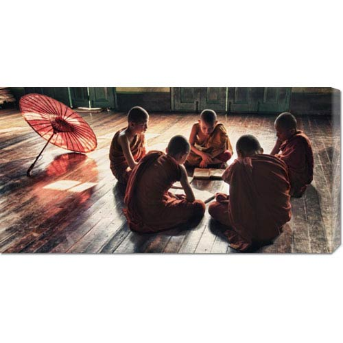 Global Gallery Young Monks Reading Books in Monastery by Scott Stulberg: 36 x 18 Canvas Giclees, Wall Art