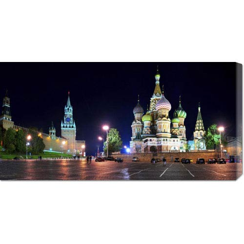 Global Gallery Red Square at Night, Moscow by Vadim Ratsenskiy: 36 x 18 Canvas Giclees, Wall Art