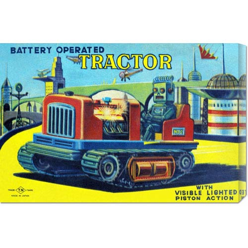 Global Gallery Battery Operated Tractor: 14.7 x 22 Canvas Giclees, Wall Art