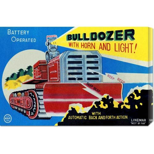 Global Gallery Battery Operated Bulldozer with Horn and Light: 14.7 x 22 Canvas Giclees, Wall Art