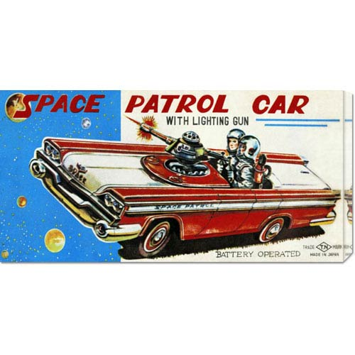 Global Gallery Space Patrol Car: 11 x 22 Canvas Giclees, Wall Art