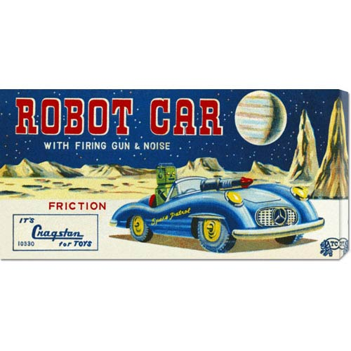 Global Gallery Robot Car with Firing Gun & Noise: 11 x 22 Canvas Giclees, Wall Art