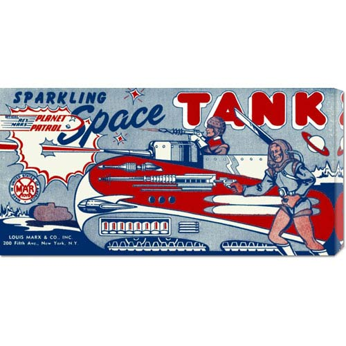 Global Gallery Planet Patrol Sparkling Space Tank: 11 x 22 Canvas Giclees, Wall Art