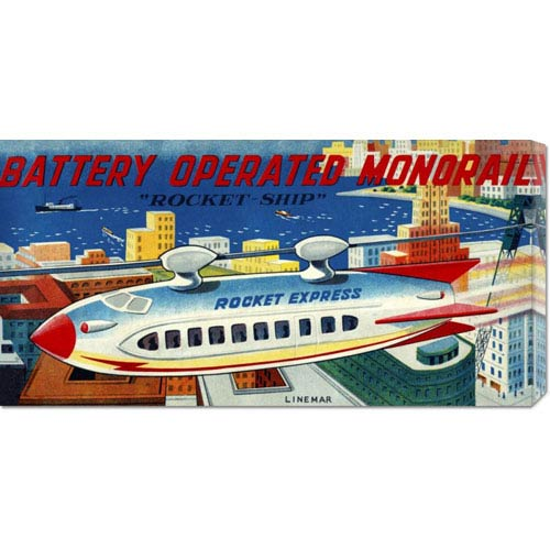 Global Gallery Battery Operated Monorail Rocket Ship: 11 x 22 Canvas Giclees, Wall Art