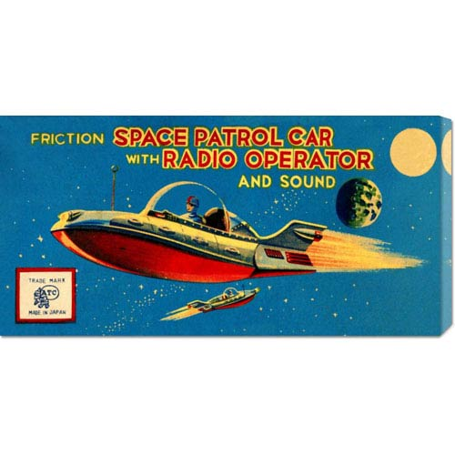 Global Gallery Space Patrol Car with Radio Operator: 11 x 22 Canvas Giclees, Wall Art