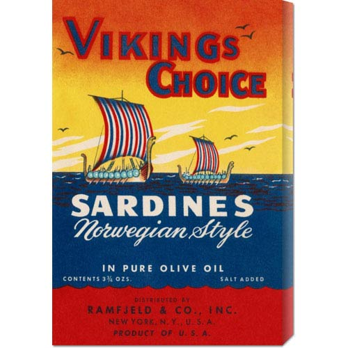 Global Gallery Vikings Choise Sardines: 22 x 14.74 Canvas Giclees, Wall Art