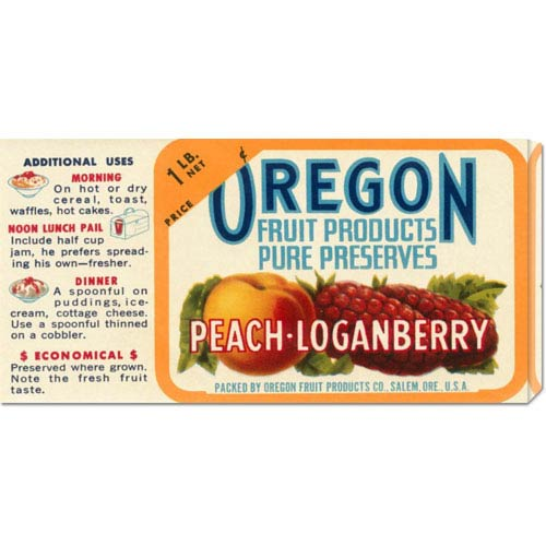 Global Gallery Peach - Loganberry Preserves: 11 x 22 Canvas Giclees, Wall Art