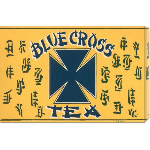 Global Gallery Blue Cross Tea: 14.7 x 22 Canvas Giclees, Wall Art