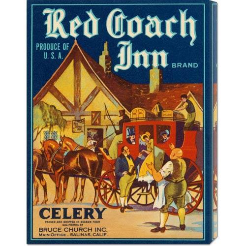 Global Gallery Red Coach Inn Celery: 22 x 16.5 Canvas Giclees, Wall Art