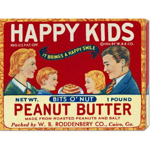 Global Gallery Happy Kids Bits O Nut Peanut Butter: 16.9 x 22 Canvas Giclees, Wall Art