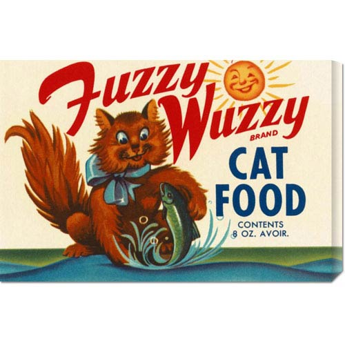 Global Gallery Fuzzy Wuzzy Brand Cat Food: 14.7 x 22 Canvas Giclees, Wall Art