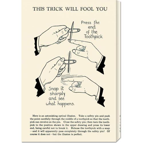 Global Gallery This Trick Will Fool You: 22 x 14.74 Canvas Giclees, Wall Art