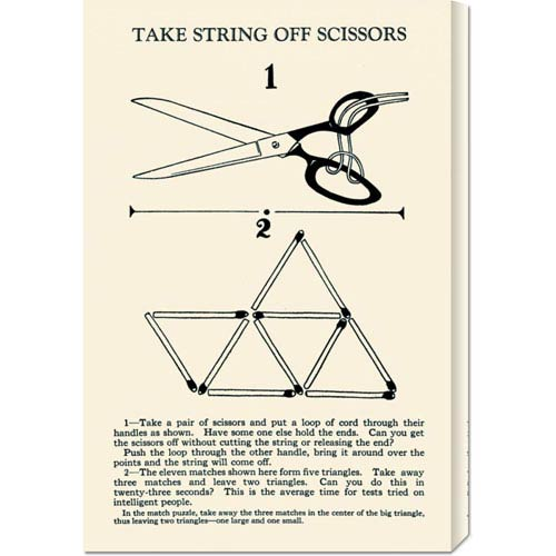 Global Gallery Take String off Scissors: 22 x 14.74 Canvas Giclees, Wall Art