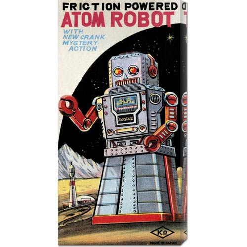 Global Gallery Friction Powered Atom Robot: 22 x 11 Canvas Giclees, Wall Art