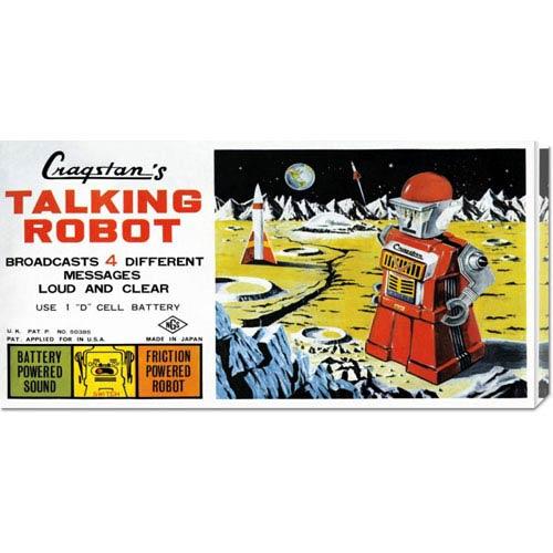 Global Gallery Cragstan Talking Robot: 11 x 22 Canvas Giclees, Wall Art