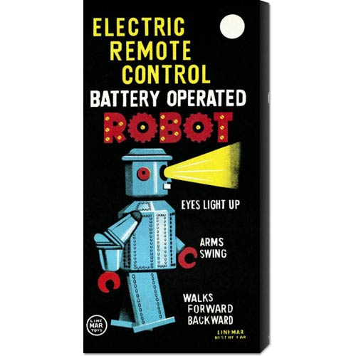 Global Gallery Electric Remote Control Battery Operated Robot: 22 x 11 Canvas Giclees, Wall Art