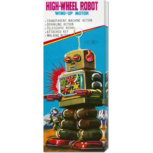 Global Gallery High-Wheeled Robot: 22 x 8 Canvas Giclees, Wall Art