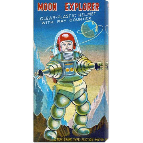 Global Gallery Moon Explorer: 22 x 11 Canvas Giclees, Wall Art