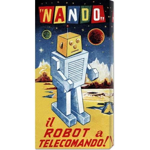 Global Gallery Nando - Il Robot a Telecomando: 22 x 11 Canvas Giclees, Wall Art
