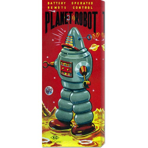 Global Gallery Planet Robot: 22 x 8 Canvas Giclees, Wall Art
