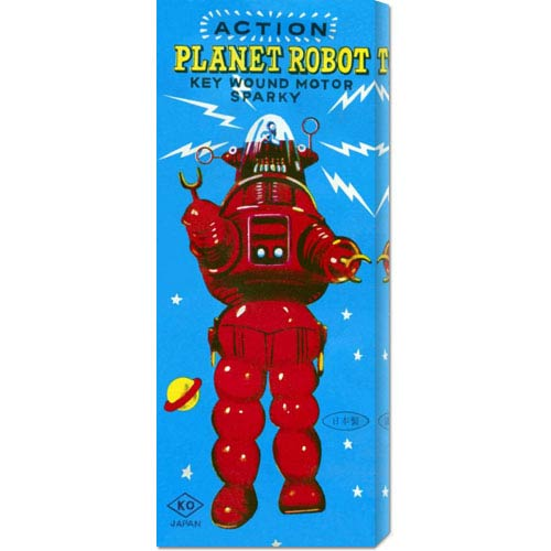 Global Gallery Action Planet Robot: 22 x 8 Canvas Giclees, Wall Art